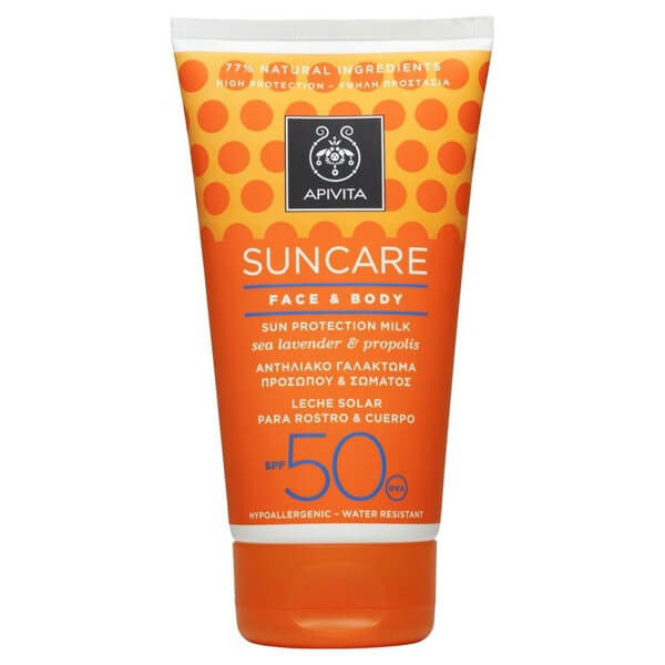 Apivita Suncare Face & Body Sun Protection Milk Sea Lavender & Propolis SPF50